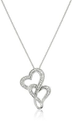 Sterling Silver Diamond Accent Double Heart Pendant Necklace,