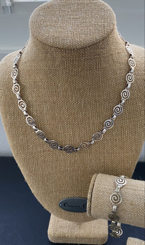 Vintage 925 Sterling Necklace Bracelet Modern Spiral Design, Orotec Signed