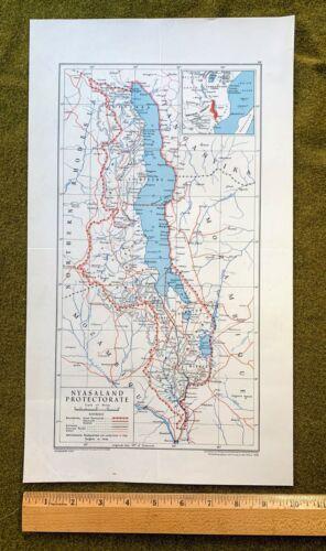 Nyasaland Protectorate map, vintage, 1948