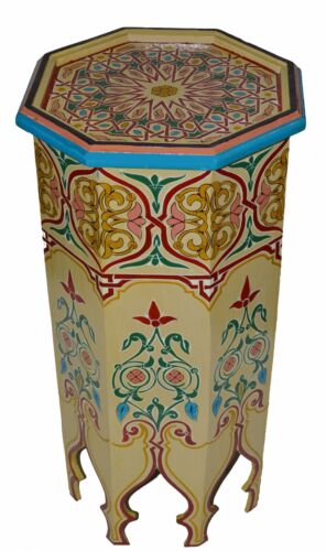 Moroccan Table Wood End Table Coffee Middle East Arabesque  Handmade Off White
