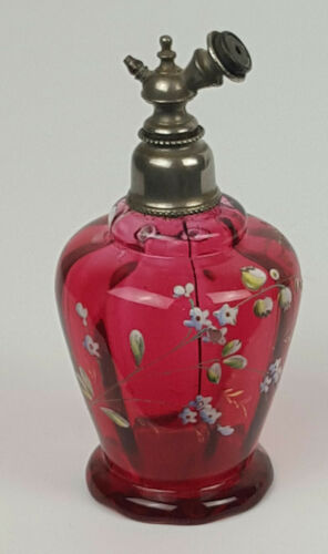 Antique Glass Darker Cranberry Enamel Perfume Bottle 5 1/4 inches