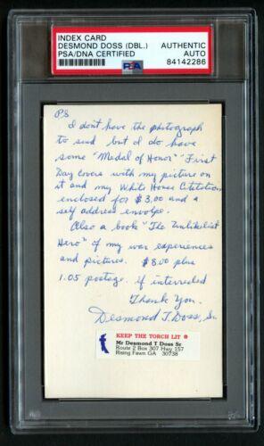 Desmond Doss (DUAL) signed autograph 3x5 index card MOH Hacksaw Ridge PSA Slab