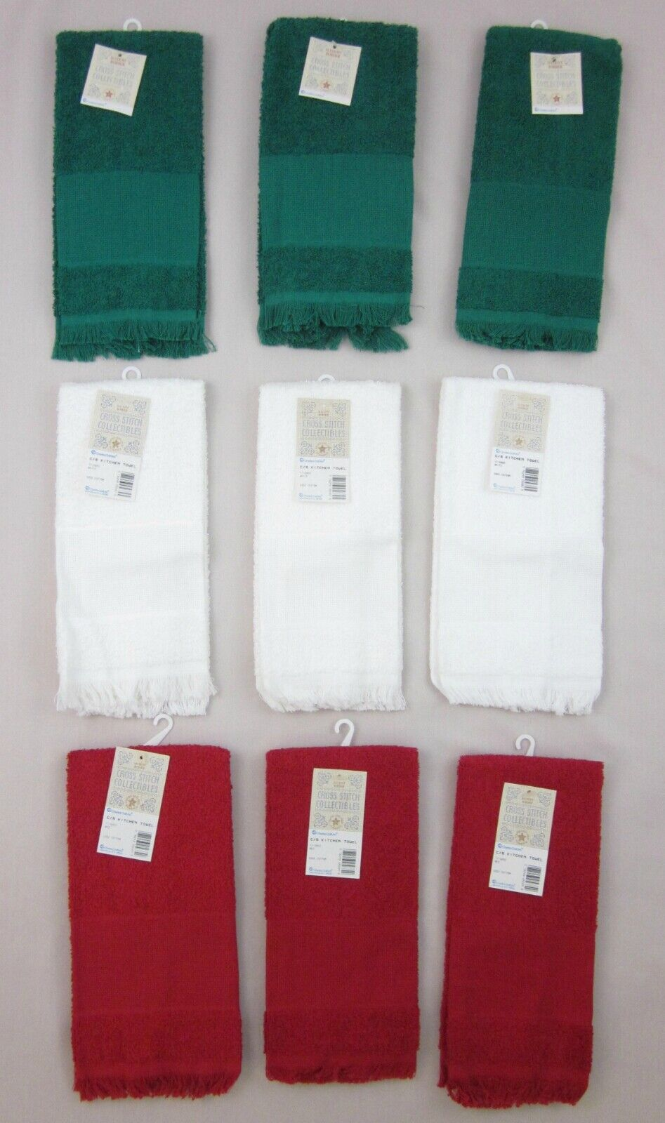 NEW! 9 Charles Craft Cross Stitch 14 Count Kitchen Towels 3