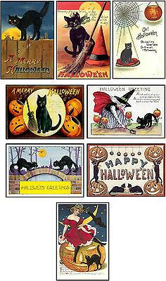 Vintage images Halloween black cat  pumpkin cards tags altered art ATC set 6 (Halloween Atcs)