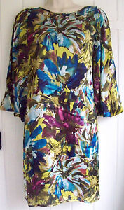 PIED A TERRE MULTI COLOURED SILK DRESS SIZE 10   BNWOT