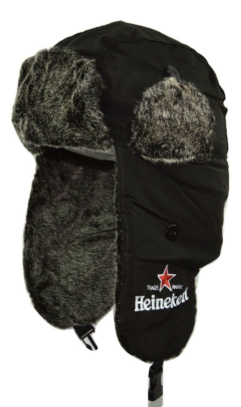 Heineken Beer Lightweight Trapper Style Ear Flap Fur Knit &