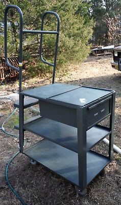 USA Stocking Cart w/ ladder,  table, drawer for Retail Store or Parts - Ladder Cart