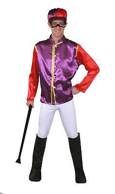 LILA/ROTES  JOCKEY KOSTÜM VERKLEIDUNG 5 TEILIGE PFERDERENNEN FARBEN FASCHING - Farbe Lila Kostüm