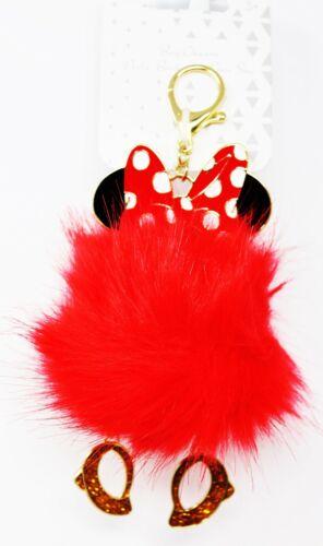 x1 Disney Parks Minnie Mouse Keychain Red Fluffy Fur Dangling Feet Polka Dot NEW
