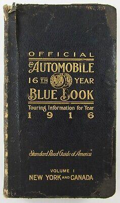 Vintage Auto Touring Map Guide Book NY Manhattan Adirondacks Texaco Oil Ad 1916