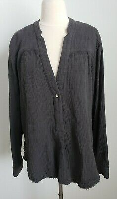 FREE PEOPLE Cotton Gauze Double Cloth Swingy Tunic Top Olive/Gray Sz M