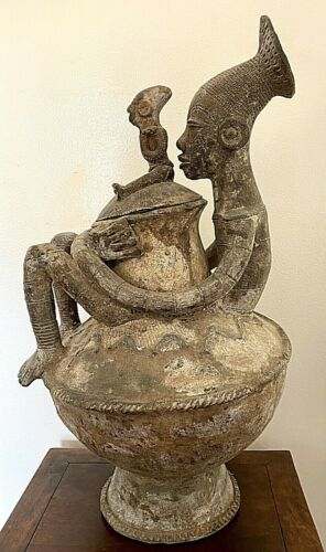 Large African Terracotta Vase of a Mother and Child Mangbetu Tribe Congo