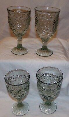 Green Glass Goblet Goblets 4 pcs Fruit Grape Water