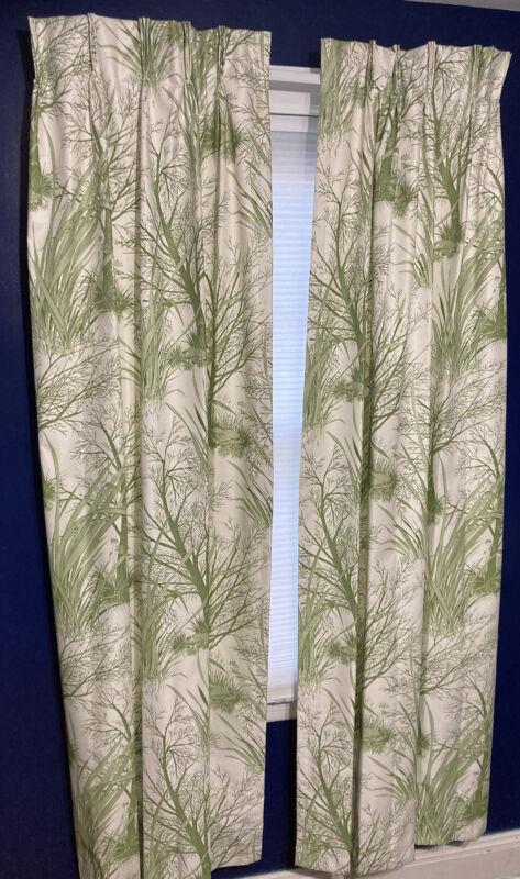 "Vintage MCM Pleated Drapes 2 Panels 73"" Green Trees Foliage"