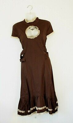 SPIN DOCTOR by HELL BUNNY Vena Cava brown steampunk dress with lace - Large