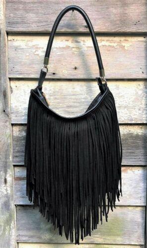 Vtg EXPRESS Black VEGAN SUEDE Faux Leather FRINGE Bucket HOBO Shoulder L (Offer)