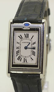 Excellent Mens Mid Sized 2405 Stainless Steel Cartier Tank Basculante Reverso