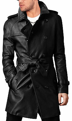 Men's Leather Trench Coat Belted Long Leather Coat Jacket