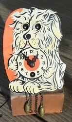 Vintage Miniature Wind Up Clock German Wood Dog-Moving Eyes Working-needs work