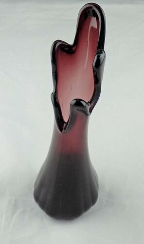 """Vintage Swung Fluted Glass Amethyst 5 Finger Vase 9"""" Murano/Taiwanese 1960-1970s"""