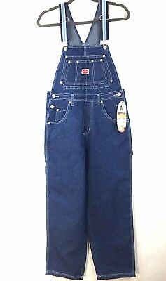 REVOLT Classic Overalls Bib Denim With Blue stripe Accent Trim Junior's Size M](Striped Overalls)