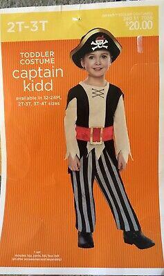 Toddler Halloween Costume Captain Kidd Size 2T 3T Shirt Pants Hat](Toddler Captain Hat)