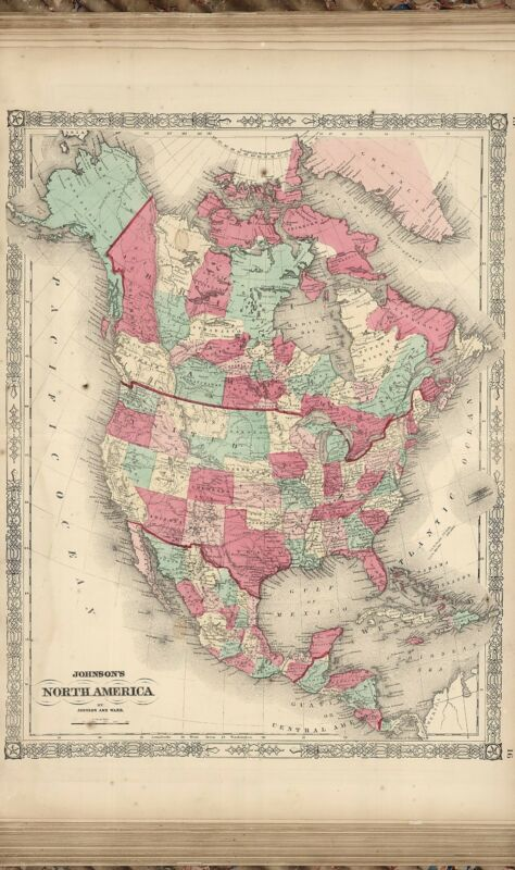 1865 ANTIQUE WORLD ATLAS old GENEALOGY JOHNSON A33