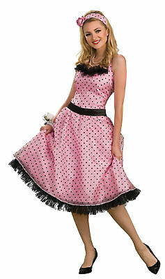 Pink Polka Dot Prom Dress Adult Womens Costume Halloween Sexy Theme - Prom Themen Kostüm Party