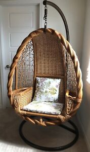 Hanging Swing - Real solid Rattan Bamboo cane with Cushion Seat