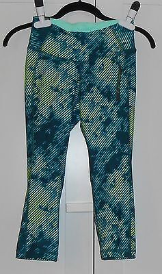 WOMEN'S OLD NAVY GREEN PRINT HIGH-RISE COMPRESSION CROPS - SIZE XSMALL