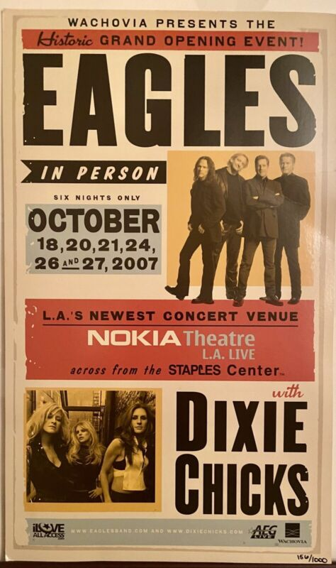 The Eagles with The Dixie Chicks Concert Poster Nokia Theater 2007 #156 Of 1000