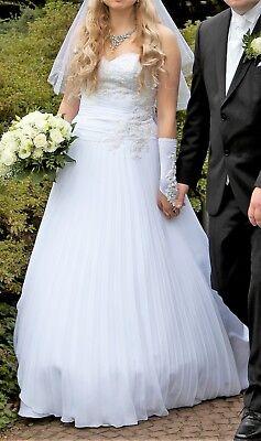 Exklusives Brautkleid (Exklusives Hochzeitskleid Brautkleid Plissee Spitze A-Linie Schnürung Gr. 38-42)