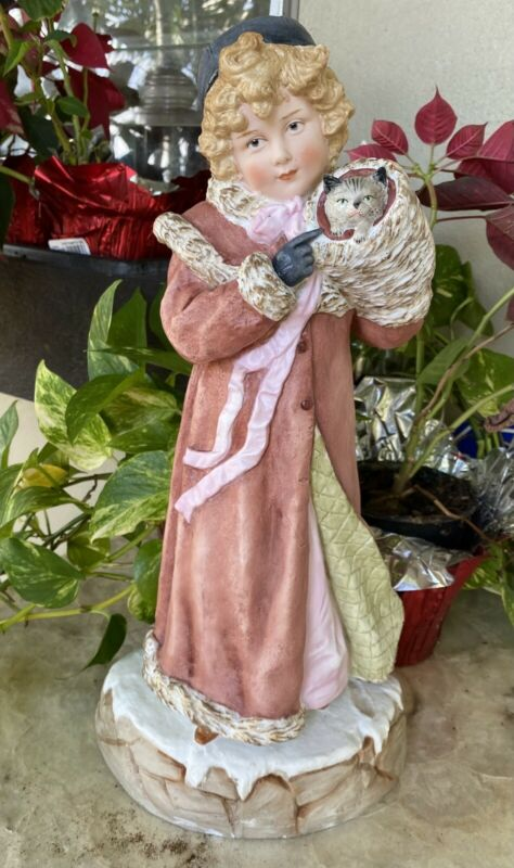 Large Heubach Victorian Christmas Girl German Bisque Piano Baby