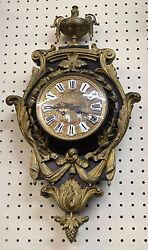 Gorgeous Bronze & Walnut French Cartel Wall Mount Clock