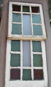 Antique victorian queen anne stained glass window set for Queen anne windows