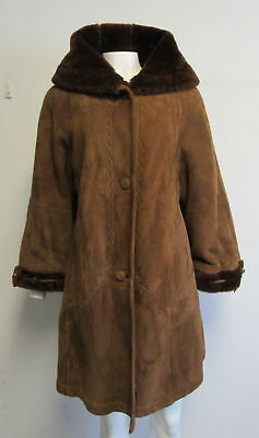 ARPEL Leather & Shearling brown hooded A- line coat sz 44/ 10