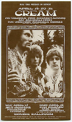 Original 1968 CREAM GRANDE Concert Handbill Eric Clapton Jack Bruce Ginger Baker