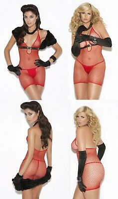 Leather Fishnet Dress (CLOSEOUT SPANDEX Halter Fishnet DRESS w/ FAUX LEATHER Accent RED O/S & PLUS )