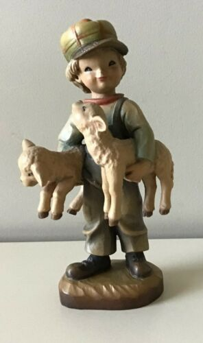 "ANRI FERRANDIZ 6"" FRIENDLY FACES  WOOD CARVED  FIGURINE BOY w/ SHEEP"