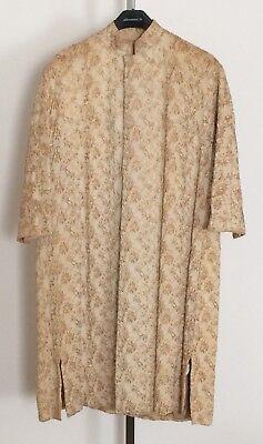 Vtg Gold Metallic Creamy Tan Brocade Evening Dinner Dress Coat 3/4 Sleeves MCM