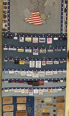 Vintage Americana Denim Folk Art Collage Levi's Wrangler More Labels Wall Hang