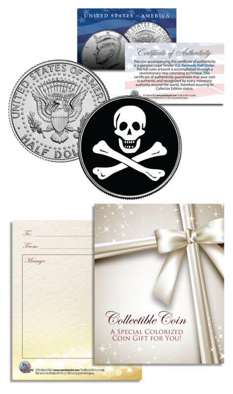 SKULL & CROSSBONES - JFK Half Dollar US Coin - Poker Card Guard Protector Cover