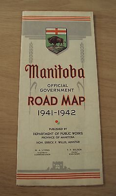 """1941-42 OFFICIAL Government """"MANITOBA"""" ROAD MAP~Canada~Dept Public Works~"""