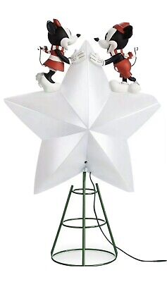 2019 Disney Mickey & Minnie Mouse Light Up Christmas Tree Topper Star in Box