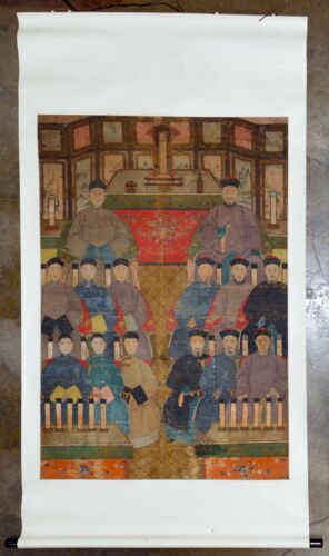 Large Antique Chinese Ancestor Portrait Painting Scroll on Fabric, 19th century