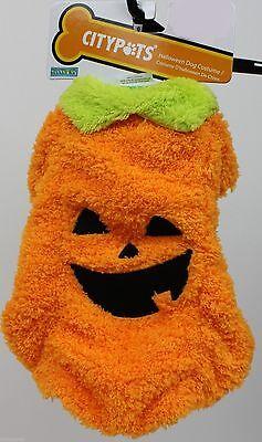 Halloween CityPets Orange Pumpkin Dog Pet Costume Size Small 10-13 in NWT