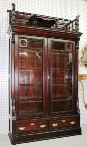 American Antique Victorian Tall Hand Carved 2 Door Walnut Burl Bookcase C1875