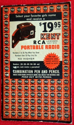 Antique Kent RCA Portable Radio Mail Away Promotional Punch Board, Unpunched!
