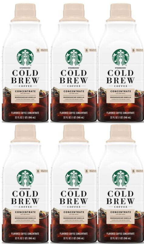 Starbucks Cold Brew Coffee Concentrate Madagascar Vanilla Flavored 6-Bottles