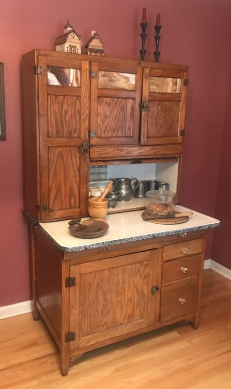 Antique Kitchen Furniture Early 1900s All Original Sellers Oak Hoosier Cabinet